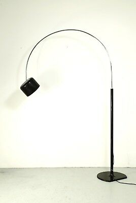 Large black VINTAGE Coupe Arc floor lamp, design Joe Colombo for Oluce