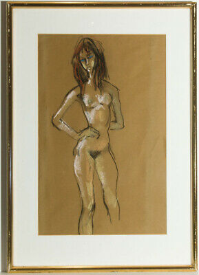 Peter Collins ARCA - Framed c.1970s Pastel, Standing Female Nude