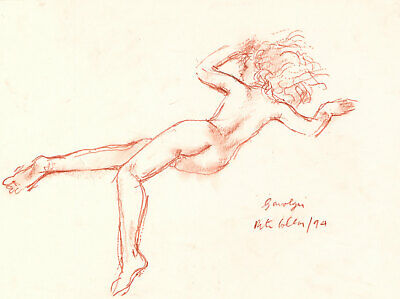 Peter Collins ARCA - Signed 1994 Sanguine, Nude Study