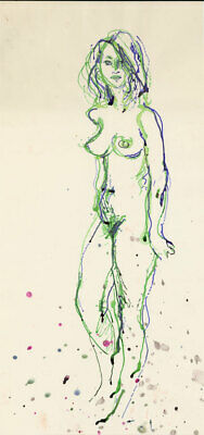 Peter Collins ARCA - c.1970s Watercolour, Green and Blue Nude