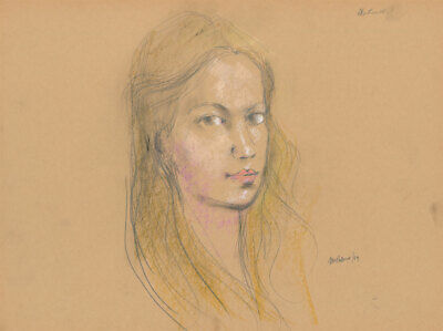 Peter Collins ARCA - Signed 1984 Crayon, Portrait of a Blonde Girl