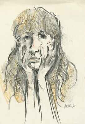 Peter Collins ARCA - Signed 1980 Crayon and Charcoal, Portrait