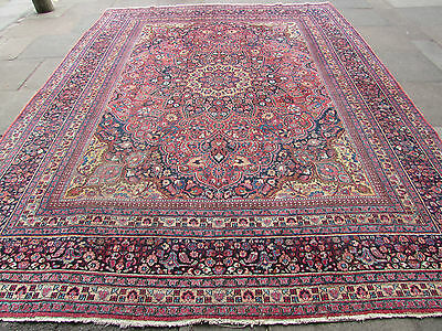 Antique Hand Made Traditional Persian Rug Oriental Wool Red Carpet 380x294cm