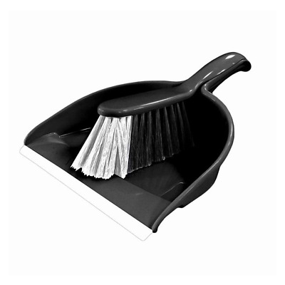 Signature Dustpan & Brush Set Black Cleaning Home Accessory Sweeping Plastic