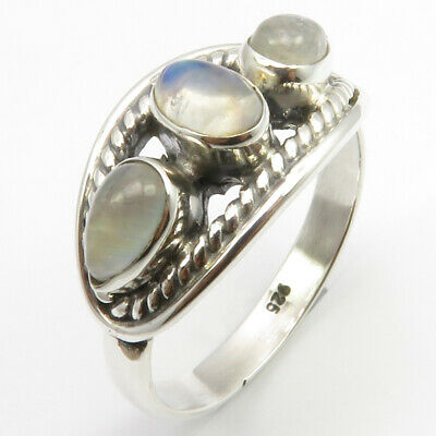 925 Solid Silver Real Cab Rainbow Moonstone Finger Ring Size 8.75