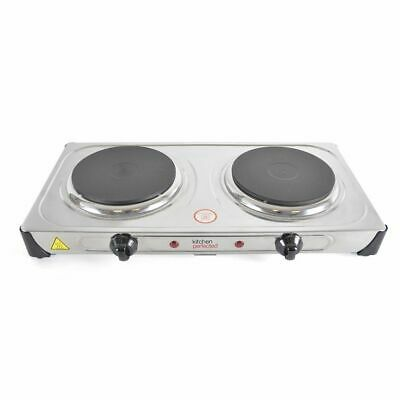 Hot Plate 2000W Double Electric Cooker Hob Table Top Kitchen Portable Cast Iron