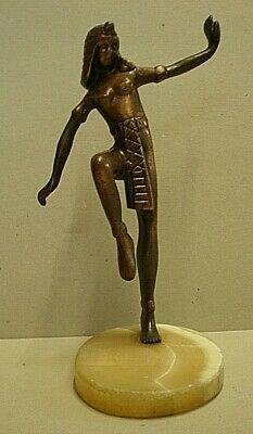 Art Deco Bronzed Figure On Marble Base - Egyptian Dancer