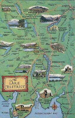 Lake district map card. mountains
