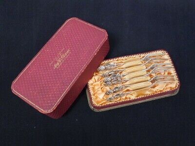 Fine Antique Set 6 Early 20c German 800 Silver Ornate Rose Cased Cocktail Forks