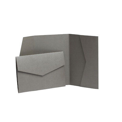 Grey Pocketfold Pearlescent invitations with envelopes. Pocket wedding Wallets