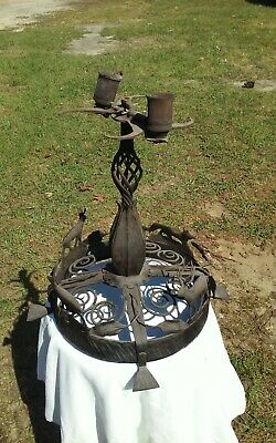 Antique Hand ForgedTable Lamp in the Arts and Crafts/MIssion Style One Of A Kind