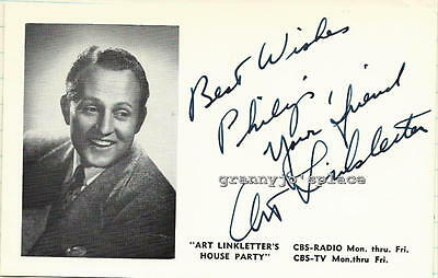 1960s Original Hand Signed Autograph Photo Card of Art Linkletter
