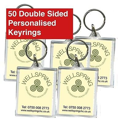 50 Promotional Double Sided Keyrings, Personalised, Business, Clubs, Charities