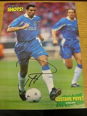 90-2000's Autographed Magazine Picture A4: Chelsea - Poyet, Gustavo. We try and