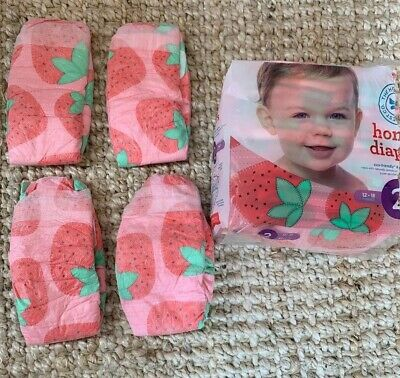 Honest Diapers Newborn Baby Or Reborn Doll Strawberry Print Lot Of 4
