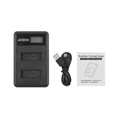 Andoer LCD2-GOPRO5 Dual Battery Charger LCD Camera Battery Charging USB M8R7