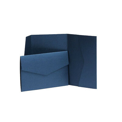 Navy Blue Pearlescent Pocketfold invitations with envelopes. Pocket Wallets