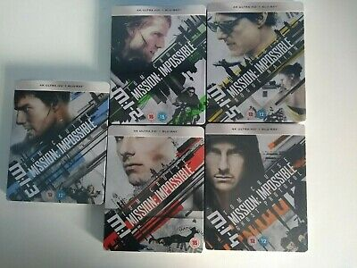 Mission Impossible 1-5 Limited Edition Steelbooks 4K UHD Blu-ray + Bluray