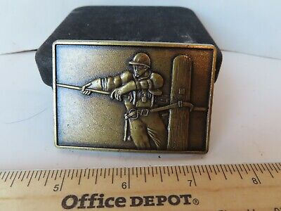 Vintage Belt Buckle Solid Brass Telephone Pole Lineman