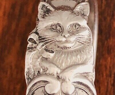 - Reed & Barton Curved Handle Baby Spoon: Cat Wearing A Ribbon, No Monogram