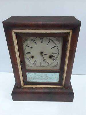 Antique 1868 Gilbert Mantle Clock Mahogany Empire Case