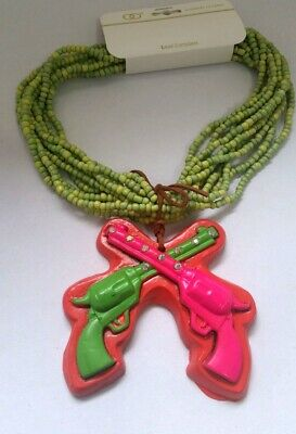 Western Double Gun Cowboy Revolver Multi Layer Beads Green Red Necklace N8-4//22