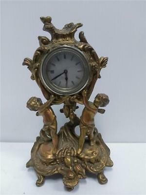 Antique Art Nouveau Victorian Gilt Cherub Clock Beautiful