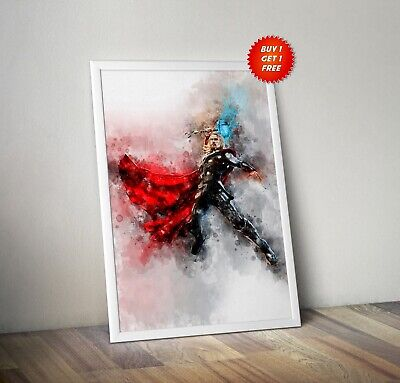 Thor,Poster, Print, Art,Infinity War,Avenger, Watercolour,God Of Thunder,Mjolnir