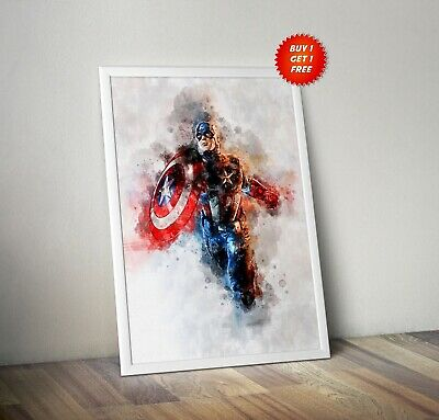 Captain America, Poster, Print,Avenger, Watercolour, Marvel, Shield, Gift,