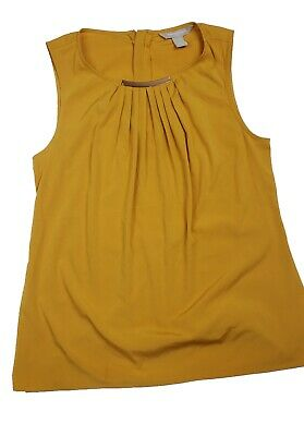 357a8f657fd316 BANANA REPUBLIC MUSTARD Yellow Long Sleeve Linen Top Womens M Medium ...