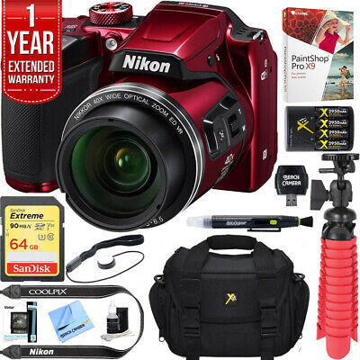 Nikon COOLPIX B500 16MP 40x Optical Zoom Wi-Fi Digital Camera (Red) +64GB Bundle