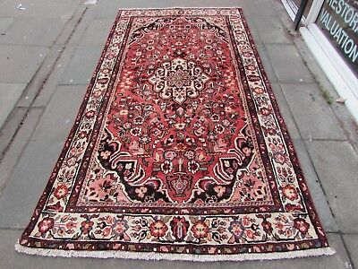 Old Hand Made Traditional Persian Rug Oriental Wool Faded Pink Carpet 270x142cm