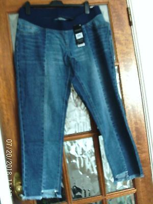 BNWT NEXT Blue OVER BUMP Jersey Panel SLIM SLOUCH Step Hem MATERNITY Jeans 12 LG