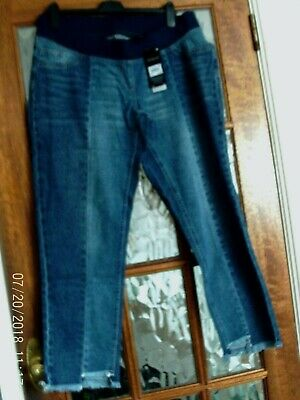 BNWT NEXT Blue OVER BUMP Jersey Panel SLIM SLOUCH Step Hem MATERNITY Jeans 12 L