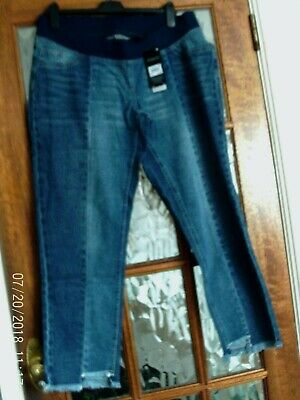 BNWT NEXT Blue OVER BUMP Jersey Panel SLIM SLOUCH Step Hem MATERNITY Jeans 10 R