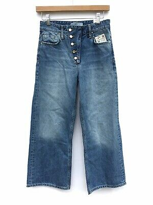 a420190f Zara Womens Blue Flare Wide Leg High Waist Exposed Button Fly Cropped Jeans  2