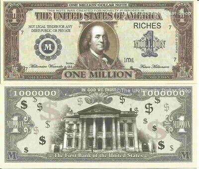 Benjamin Franklin First Bank Of The United States Million Dollar Bills x 2 Note