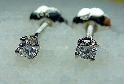 Tiny Genuine G-VS1 Diamond Earrings In  Solid 14K White Gold Studs W/Screw Back