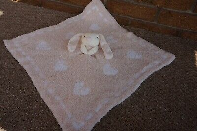 SECURITY Blanket BAREFOOT DREAMS Cozychic Bunny Rabbit Pink White Hearts Lovey