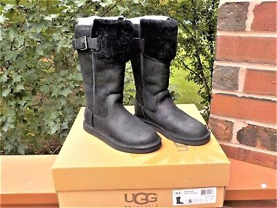 9542d02ce5e NWB UGG WILOWE Black Water Resistant Leather Fur Cuff Tall Boots WOMEN SIZE  5, 6