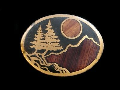 SB01106 VINTAGE 1970s **MOUNTAIN FOREST** WOOD INLAID SOLID BRASS BELT BUCKLE