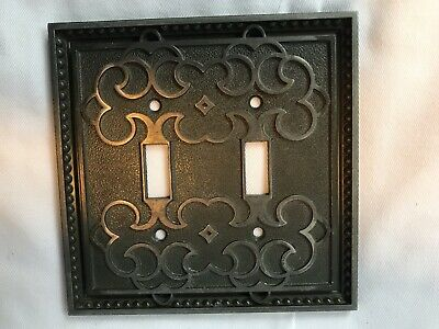 Vintage ** GENERAL ELECTRIC ** Brass Metal 2-Gang Toggle Switch Wall Plate JAPAN