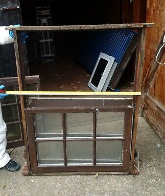 Pair Antique Vintage Double Hung Wood Sash Window Glass Lite Pane in frame