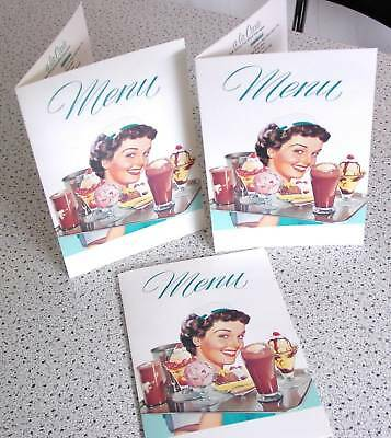 DINER MENU Ice Cream Carhop Waitress for 50s Diner Soda Fountain SET of 3 MENUS!