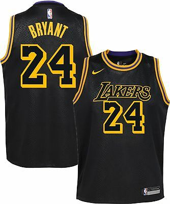 1b313e73a4f Limited Nike LA Lakers Kobe Bryant 24 City Edition Black Jersey (YOUTH M  Medium)
