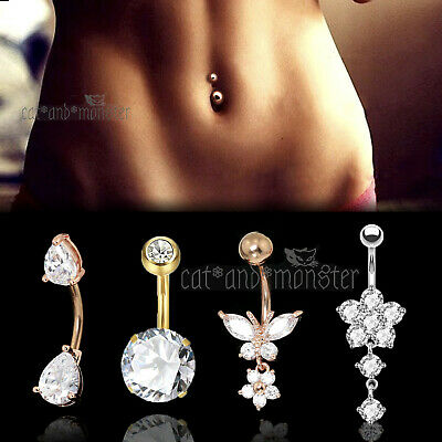 Belly Bar Navel Ring DIAMOND OPAL CRYSTAL Flower Dangle Surgical Steel Piercing