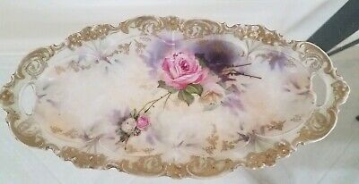 RS Prussia Celery Dish Roses Red Suhl Mark c1880's