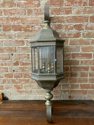 "Antique Vintage Ornate Large Brass Sconce Light Outdoor Building 39"" Tall (B)"