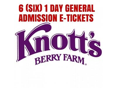 Knotts Berry Farm e-tickets - 1 Day General Day Admission (Total of 6 e-tickets)