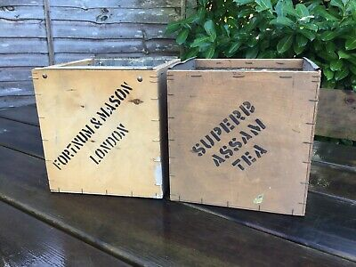 """Pair Of Old Vintage Small 8.5"""" Tall Wooden Fortnum Mason Superb Assam Tea Chests"""
